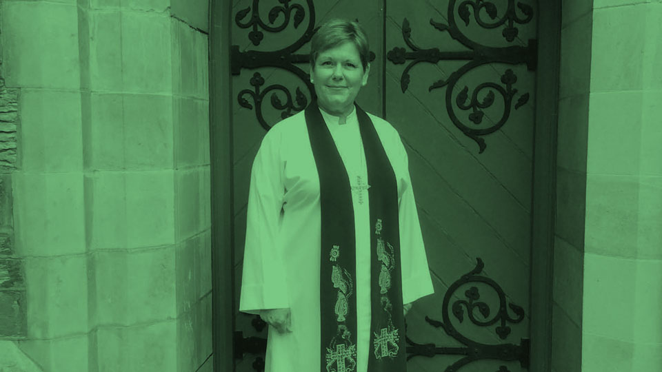 Rev Beth Seaman in robes