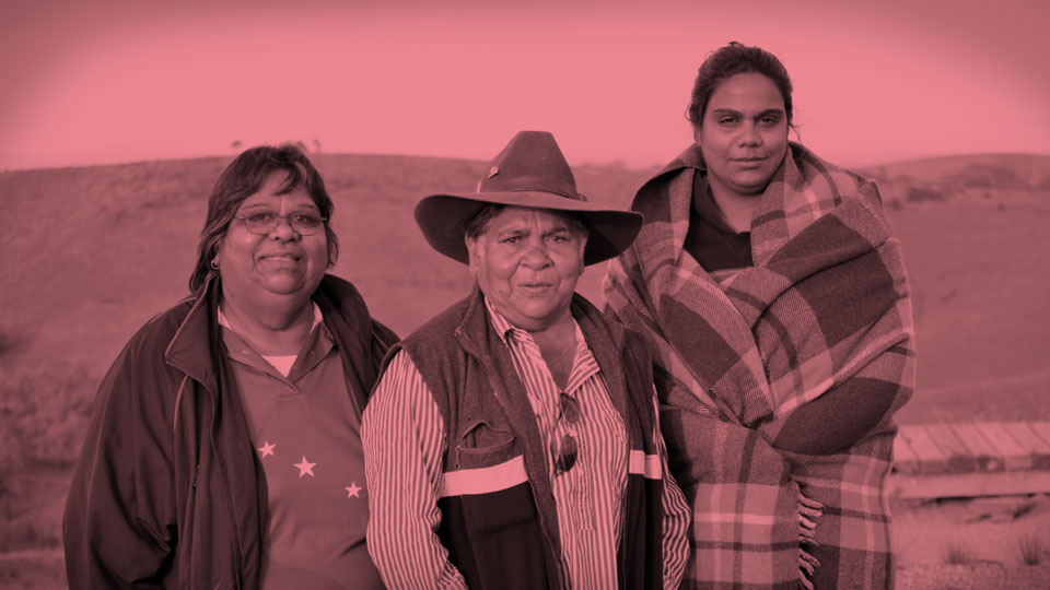 Rev Denise Champion, Aunty Pauline McKenzie and Candace Champion in Adnyamathanha country (Flinders Ranges)