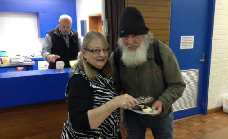 Volunteer Barb Dawe with Steve at the Pilgrim Centre.