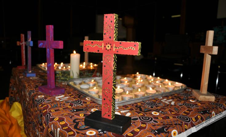 Painted crosses from a past UAICC and Uniting Church event