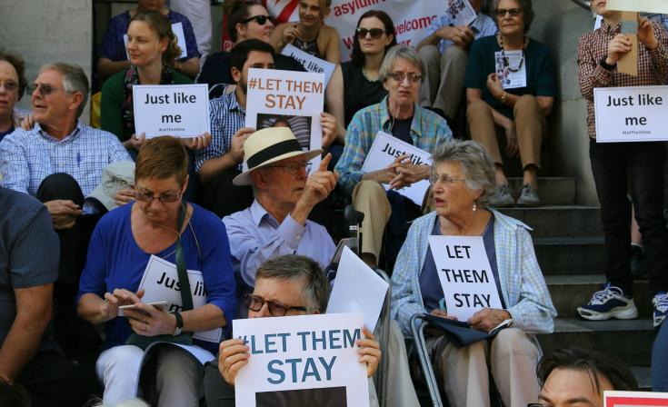 People gathered for the #LetThemStay rally on the Adelaide Parliament House steps on Thursday 4 February.