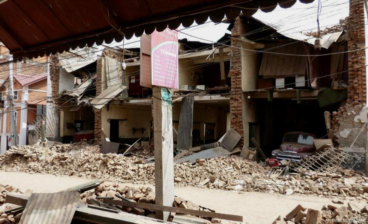 Collpased buildings in Nepal after recent earthquake