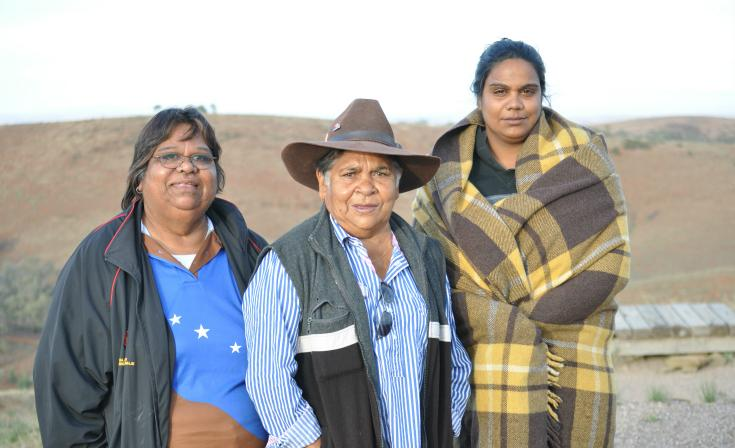 Aunty (Rev) Denise Champion, Aunty Pauline McKenzie, and Candy Champion in Adnyamathanha (Flinders Ranges) country in May 2016.