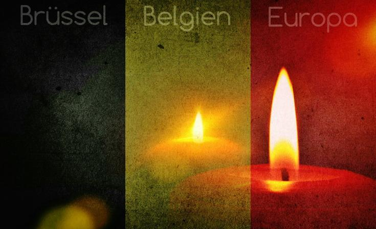 The colours of the Belgian flag over an image of candles