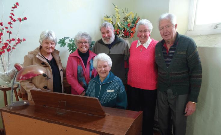 Nola Bowman, Gaye Austin, John Austin, Shirley Arney, Brian Goldsworthy and long-term organist Margaret Wearne are the stalwarts of Cross Roads Uniting Church.